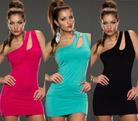 2014 New Women Sexy Package Hip Clubwear Party Bandage Dresses One-Shoulder Bodycon Dress Vestidos, Red, Blue, Black