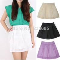 New 2014 Women Skirts Spring Summer Pleated Skater Short Skirt Casual Bright Color Mini Skirts Saia Femal Girl Plus Size 14503