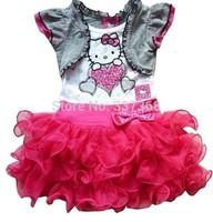 Best Selling Hello Kitty Girls Short-Sleeved Dress Cake Tutu Skirt Girls Dresses With Bow Free Shipping