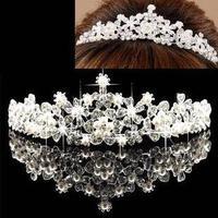 Korean hair accessories crystal rhinestone crystal pearl bridal Crowne  tiara B14