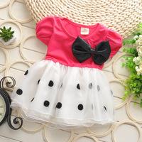 Free shipping 2014 Summer new baby girls dot bow sweet dress baby kids princess dress A302