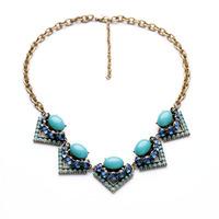 xl00882 New Styles Statement Fashion Elegant Blue Resin Tragle Pendant Short Necklace &Pendant 2014