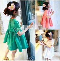 (5 pieces/lot) girls candy color round collar dress Girls behind buttons of bitter fleabane bitter fleabane dress fashion