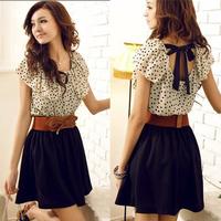 XS-XXL,With Belt, Women Hot Sale Korean Style Ruffles Short Sleeve Chiffon Polka Dots Mini Dress Y3232