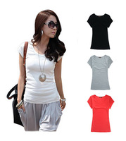 2014 New Fashion women's short t-shirts cotton tops round t shirt for Women apparel blouses & shirts 4 color Free shipping