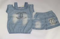 (5 pieces/lot) girls manual light bead off-the-shoulder choli + cowboy pants suit Girls straps choli + washed denim pants suit