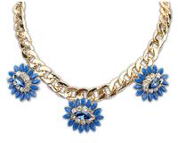 Wholesale 2014 New arrive women's fashion flower imitation gem glden short Necklace For women dress jewelry Free Shipping