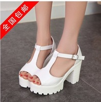 2014 New hot style womens girls Elegant  Cool Gladiator T strap sandals Platform high heel shoes US4-8 Free shipping