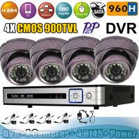 4CH DVR 900TVL 960H Outdoor/ Indoor CCTV Security Vandal-proof Camera System Kit