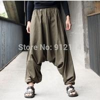 2015 new Retro Casual Cool harem pants men solid color loose low drop crotch linen Pants for men,feet pants,slacks calca,