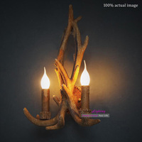 Free shipping Hot Selling New Product Modern Creative Buckhorn, Antler Double Wall Lamp Poly Sconze Fixture 2 Light Resin+Metal