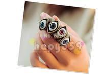 free ship 50pcs fashion alloy jewelry finger ring punk eye hand ring