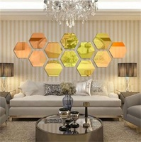 Modern Style Acrylic Large 20cm hexagon mirrors 3D Wall Sticker corridor sofa home decoration 12pcs/lot Free Shipping