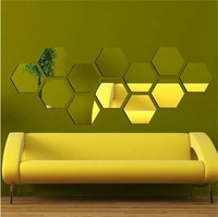 2014 New Style Acrylic hexagon 3D mirror wall sticker decals fashion modern life best gift Free Shipping 12pcs/set