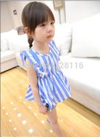 (5 pieces/lot) Children girls between stripes flew sleeve round collar leisure dress Girls stripe sleeve round collar dress