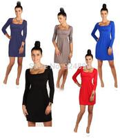 Wholesale_2014 New Fashion Elegant Spring Long Sleeve Girdling Mini Party Cocktail Women Dresses Free Shipping Size S-XL