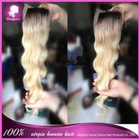 #1b/613 Hot sale brazilian virgin hair Body wave two tone top closure 4*4 free part lace closure