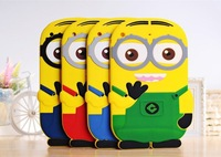 New Arrival Hot Selling Despicable Me 2 Minion Cartoon Cute 3D Silicone Shell Back Cover Case For Apple iPad 2 3 4 Free Shipping