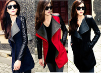New 2014 autumn & winter woolen outerwear elegant female slim medium-long Spliced color  woolen coat  Red, lack,blue Drop ship