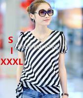 New 2014 spring summer v-neck Striped Chiffon blouse shirt women blouse plus size chiffon blouses B047 Free shipping S to XXXL