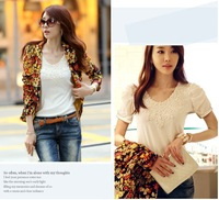 2014 new summer short-sleeve white shirt Slim small shirt lace shirt large size women
