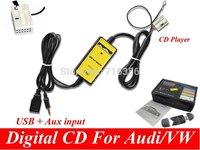 3.5mm AUX  MP3 Adapter  usb disk Digital Music CD interface audio media Changer For  VW Audi Skoda Seat Quadlock 12PIN