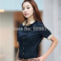 female summer short-sleeve 2014 women's shirt slim girl plus size peter pan collar work wear white black