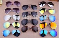 26 colour2014 New Arrivals Unisex Aviator Sunglasses Mirrored Lenses Colorful Frame Sunglasses Free Shipping