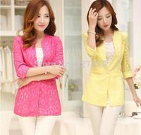 Increase the size Blazer female summer three quarter sleeve lace slim medium-long female blazer thin outerwear female 2014 new
