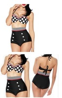 Free shipping 2014 New Arrival Sexy Dot RETRO Vintage Print women's Paded High Waist Bikini Set swimsuit  swimwear Bathing suits