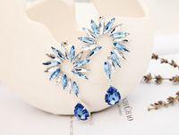 2014 popular jewelry fashion horse eye parts earring Flower gold\silver Shaped big Crystal drop Earrings for wmen