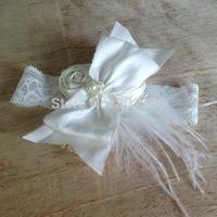 Free Shipping Ivory Dupioni Silk Roll Flower Ivory Ostrich Feather Dupioni Silk Bow Baby Headband Kids Hair Accessories
