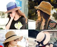 Sunbonnet female summer big along the cap beach cap straw hat sun hat anti-uv sunscreen large brim cap fedoras Free Shipping