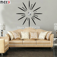 2014 Large size DIY home decorative wall clock,creative radiated simple & elegant wall stickers clock modern design,home decor