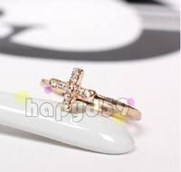 10pcs free ship lady fashion alloy jewelry finger ring tail ring rhinestone Cross hand ring 1.6cm 1.7cm 1.8cm choosing