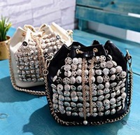 New 2014 fashion women handbag sparkling pearl buttons joker chain smoking mouth type single shoulder slope across packages