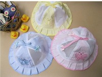 12 pcs lot 3 colors 100% cotton unsex Baby Infant cute butterfly Net Bucket hats & Caps summer Hats Basin C1010 free shipping