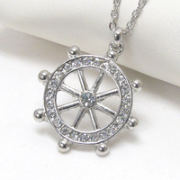Tops 2014! Fashion Costume Jewelry Alloy Dull Silver Plated Anchor Pendant Necklace Free Shipping xy027