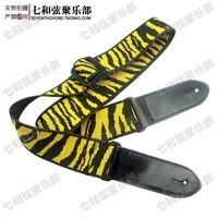 Free shipping high quality yellow zebra-stripe folk Guitar Strap Adjustable Length Acoustic Electric Folk Bass Guitar Strap