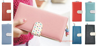 New Fashion Lovely wave point lady long purse clutch wallet zip bag card holder