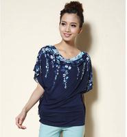 2014 New Summer Women Plus Size 5XL All-match Top Loose Cotton Batwiing Short Sleeve T-shirt Female Big Size XXL XXXL XXXXL