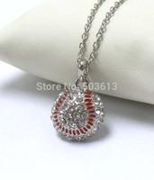 Tops 2014! Fashion Costume Jewelry Crystal Rhinestone Half Ball Baseball Charm Pendant Sport Necklace xy025