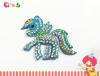 Newest ! 52mm*42mm 10pcs/lot   Rhinestone  Pony Pendants  For Kids Necklace Making