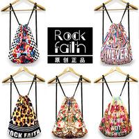 [RF006]New fashion original SuFeng broken beautiful flower printed retro backpack backpack shoulders draw string bag backpack