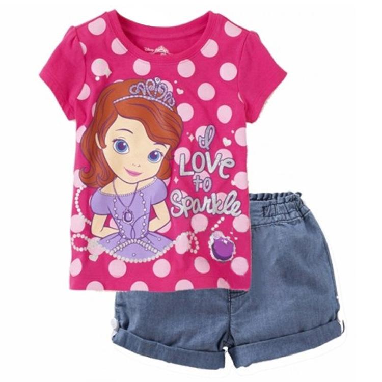 2015 New Summer Kids Baby Girls Child Short Sleeve Cartoon Princess Sofia The First T Shirt + Denim Jeans Shorts Set H0140595(China (Mainland))
