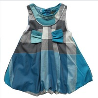 2014 fashion spring and summer GIRL skirt  blue  plaid SLEVEEless for 2-9year children girl low price
