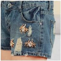 hot! 2014 Fashion Embroidery Pocket Ladies Spider denim Jeans short vintage Fllange Women Hole Denim Short Pants