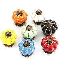 Europe style Ceramic Pumpkins Knobs Door Cabinet Cupboard Handles Pull Drawer 40mm furniture accessories 10PCS free shipping