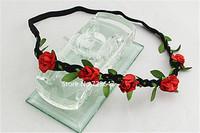 10 pcs/lot Bohemian Headband Hair band Rose Flower Braided Leather Elastic Headwrap hairband Hair Ornaments Free/Drop shipping
