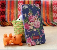 The Retro Embossing Pastoral Floral Series Hard Plastic Back Cover Phone Case For iPhone 5 iPhone 5S